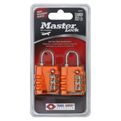 Master Lock Luggage 3-Dial 2pk Combination Padlock - Colors May Vary