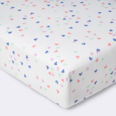 Crib Fitted Sheet Hearts - Cloud Island™ Pink/Blue/Purple