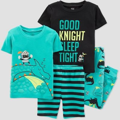 Baby Boys' 4pc Aqua Dragon Cotton Pajama Set - Just One You® made by carter's Green/Black 12M