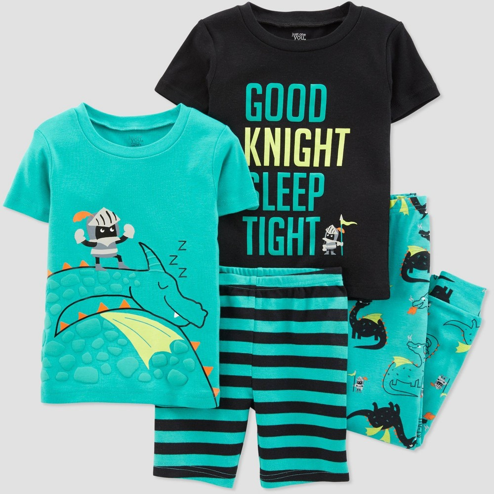 Baby Boys' 4pc Aqua Dragon Pajama Set - Just One You made by carter's Green/Black 9M, Blue