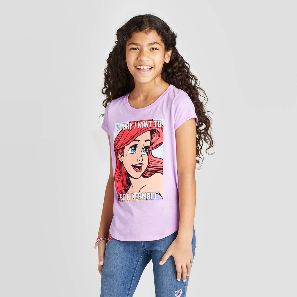 Girls Disney Princess Short Sleeve Graphic T-Shirt - Purple M Discounts