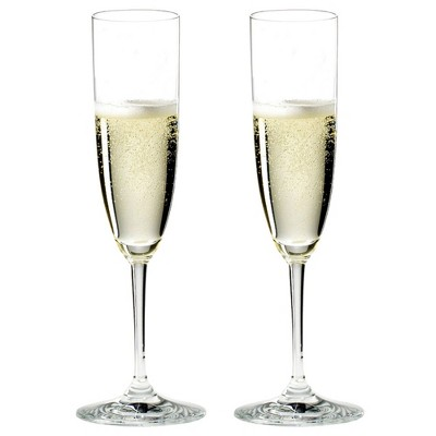 Riedel 6416/08-POL Vinum Champagne Dishwasher Safe Crystal Champagne and Rose Wine Drinking Glasses Stemware with Microfiber Polishing Cloth (2 Pack)