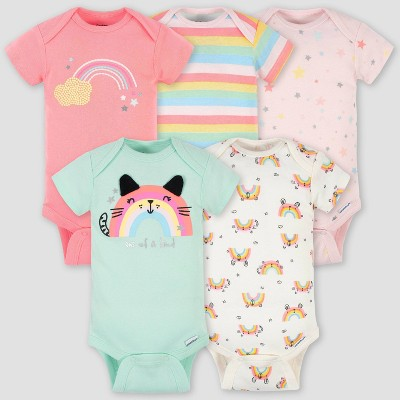 Gerber Baby Girls' 5pk Rainbow Short Sleeve Onesies - Green/Pink/Cream