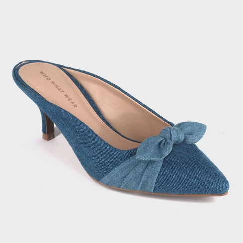 22a4ae287f37 Women s Kitty Denim Kitten Heeled Mules - Who What...   Target