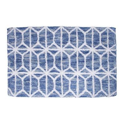 Hexagon Border Bath Rug Blue - Allure Home Creations