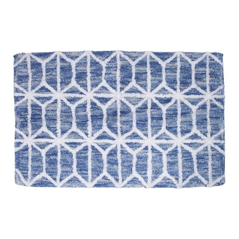 Hexagon Border Bath Rug Blue - Allure Home Creations - image 1 of 4