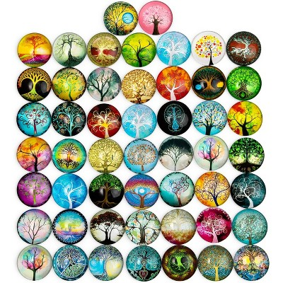 Bright Creations 50-Pack Glass Dome Cabochon Tree of Life Mosaic Tiles for DIY Arts and Crafts, Jewelry Making