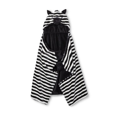 Hooded Baby Blanket Zebra - Cloud Island™ Black/White