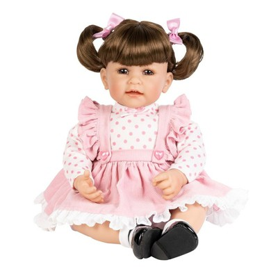 """Adora Toddler Doll """"Vintage Girl"""" with Pink frill Pinafore Dress, Pink Baby Pantaloons and Black Mary Jane Shoes"""