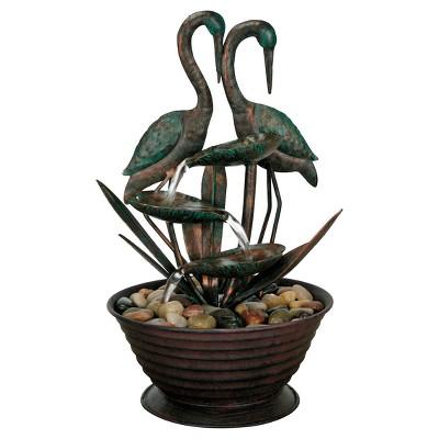 8.5  x 7.5  x 13.5  Metal Birds Fountain - Foreside Home & Garden