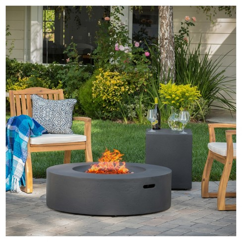 """Aidan 39.25"""" Light Weight Concrete Gas Fire Pit Table With Tank Holder Circular - Christopher Knight Home  - image 1 of 4"""