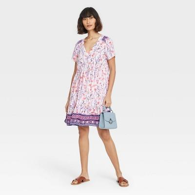 Women's Short Sleeve Shift Dress - Knox Rose™ White Floral M