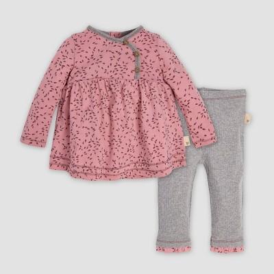 Burt's Bees Baby® Baby Girls' Little Seedlings Organic Cotton Tunic Top & Pants Set - Pink/Gray 3-6M