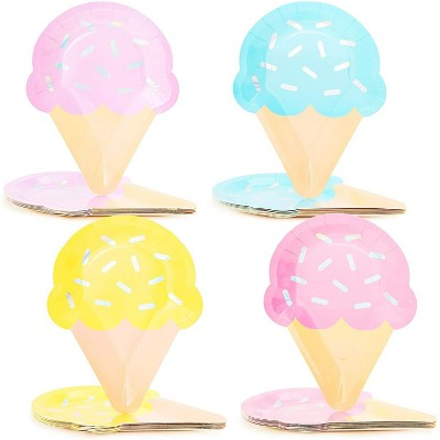 """Blue Panda 48-pack Ice Cream Disposable Paper Plates 10"""" Birthday Baby Shower Party Supplies"""