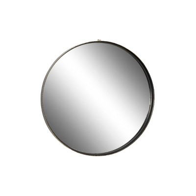 """32"""" x 32"""" Large Round Metal Wall Mirror with Metallic Textured Trim Gold - Olivia & May"""