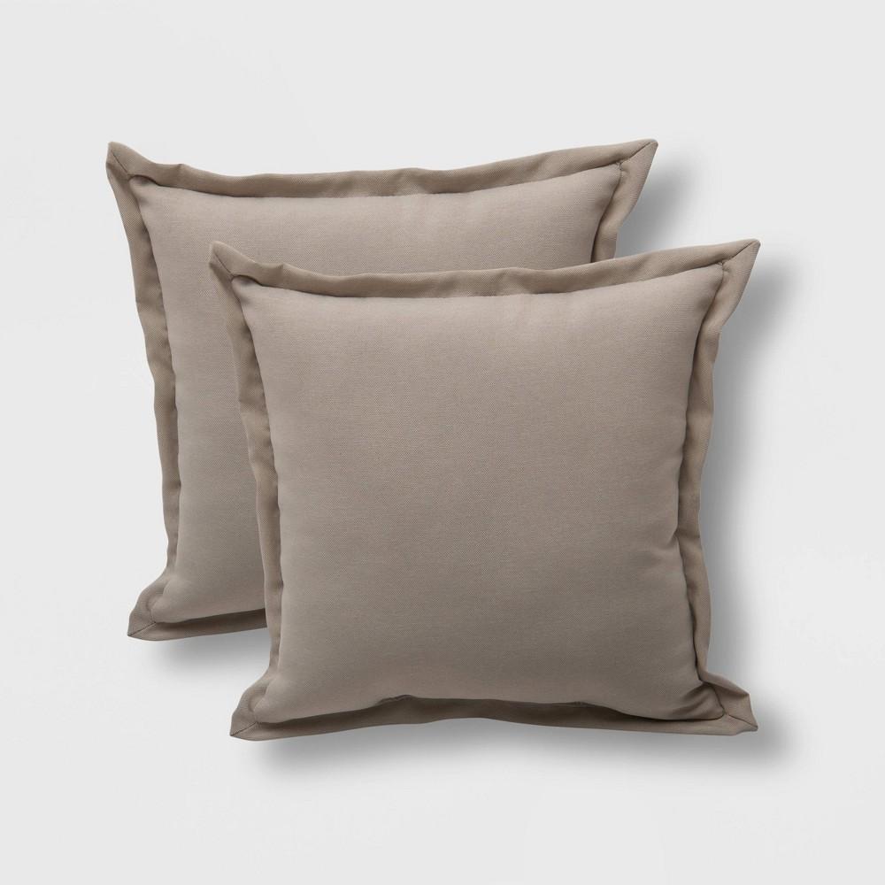 2pk Square Outdoor Pillows Tan - Threshold