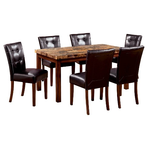 Sun Pine 7pc Faux Marble Top 60 Dining Table Set Wooddark Oak