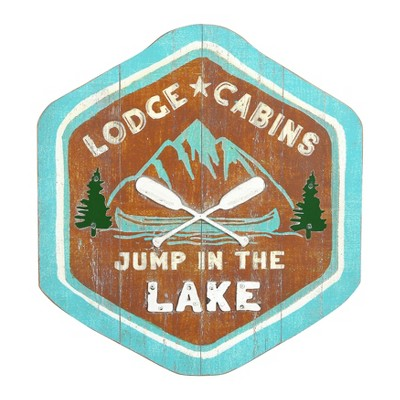 "15.75"" x 17"" 3D Wood and Metal ""Jump In The Lake"" Wall Decor - 3R Studios"