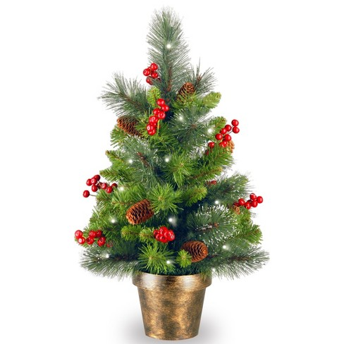 2ft crestwood spruce tree with battery operated warm white led lights national tree company