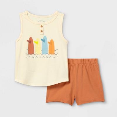 Toddler Boys' 2pc 'Surfboard' Henley Tank Top & Shorts Set - art class™ Brown/White