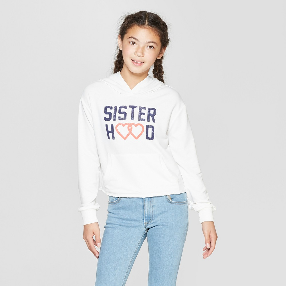 Girls' Long Sleeve Cropped Hoodie - art class White XS