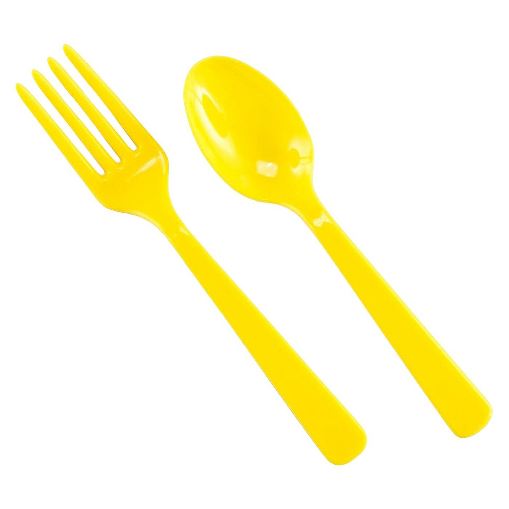 16ct Yellow Disposable Fork & Spoon Set