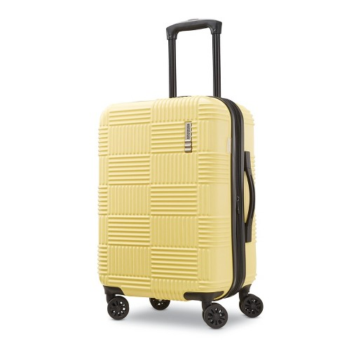 """American Tourister 22"""" Checkered Carry On Hardside Spinner Suitcase - Yellow - image 1 of 4"""