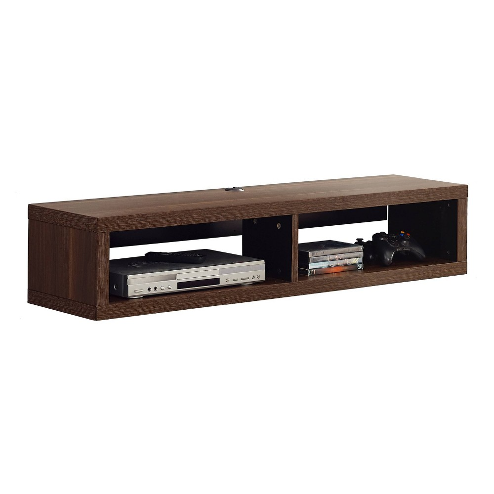 "Image of ""48"""" Wall Mounted Media Console Walnut - Martin Furniture, Size: 48"""", Brown"""