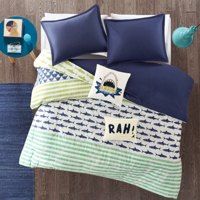 Luke Cotton Duvet Bedding Set Green/Navy