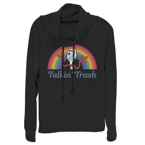 Junior's Toy Story Forky Talkin' Trash Rainbow Cowl Neck Sweatshirt - image 1 of 1