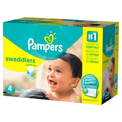 Pampers Swaddlers Diapers One Month Supply Pack Size 4 (164 ct)