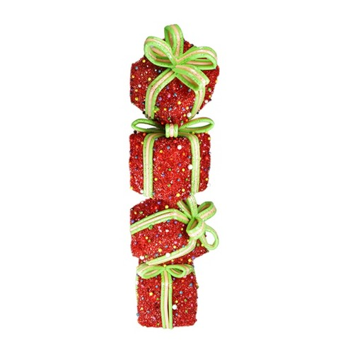 Northlight 34 Lighted Red Tinsel And Candy Stacked Gift Boxes Tower Outdoor Christmas Decoration