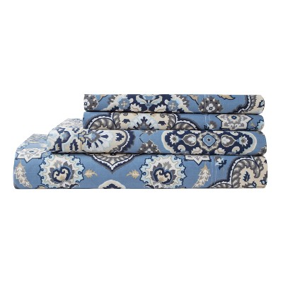Ethania Cotton Printed Sheet Set Queen Blue 300 Thread Count