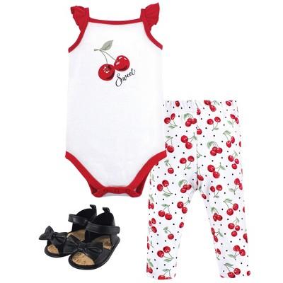 Hudson Baby Infant Girl Cotton Bodysuit, Pant and Shoe 3pc Set, Cherries