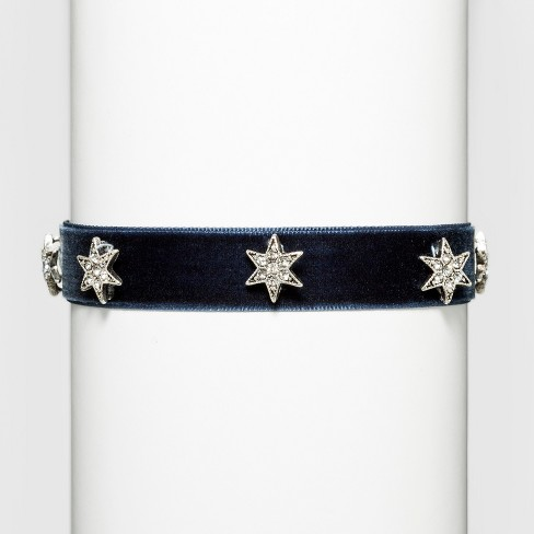 "Fashion Choker with Stars - Black/Silver (12"") - image 1 of 3"