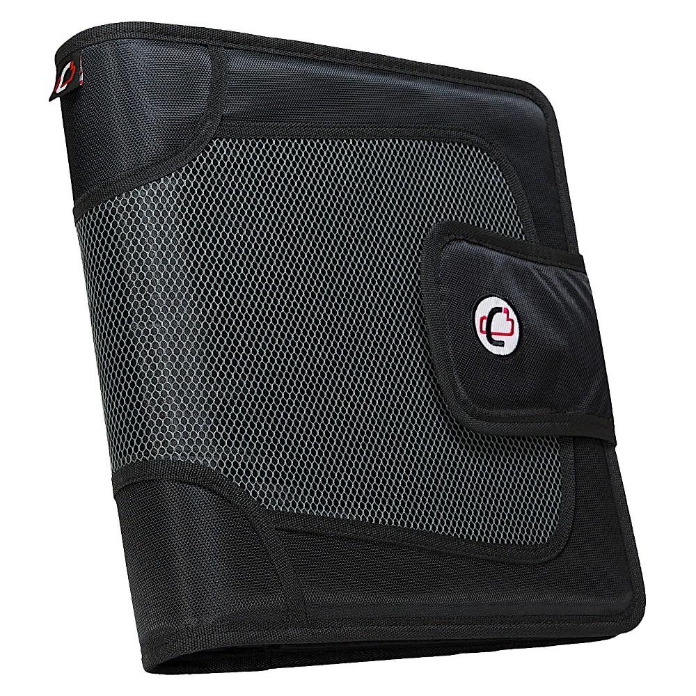 Case•it 3 Zipper 3 Ring Binder with Internal Pockets Black