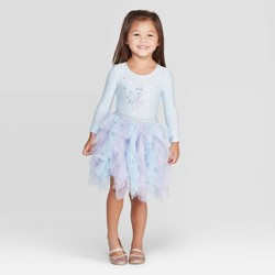 Toddler Girls' Disney Elsa Long Sleeve Tutu Dress -Light Blue