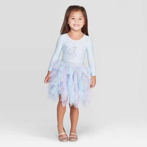 Toddler Girls' Disney Elsa Long Sleeve Tutu Dress -Light Blue - image 1 of 3