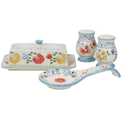 Gibson Elite Anaya 5 Piece Hand Painted Stoneware Table Accessory Set