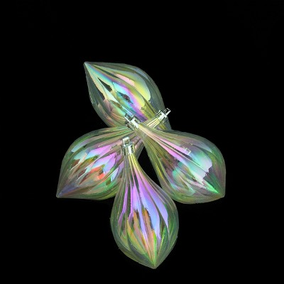 """Northlight 4ct Iridescent Shatterproof Finial Christmas Ornament Set 5"""" - Clear"""