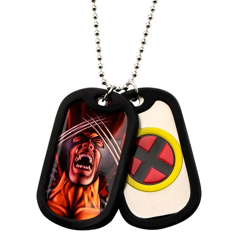 "Men's Marvel® X MEN Wolverine Double Stainless Steel Dog Tag and Rubber Silencers (22"") - image 1 of 1"