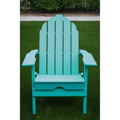"""37.8"""" Foldable Weather Resistant  Outdoor Adirondack Chair - Blue - XBrand"""