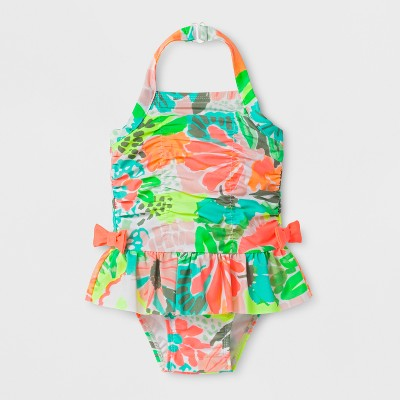 Baby Girls' Floral One Piece Swimsuit - Cat & Jack™ Coral 12M