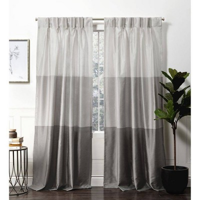 Chateau Striped Faux Silk Pinch Pleat Light Filtering Curtain Panel - Exclusive Home