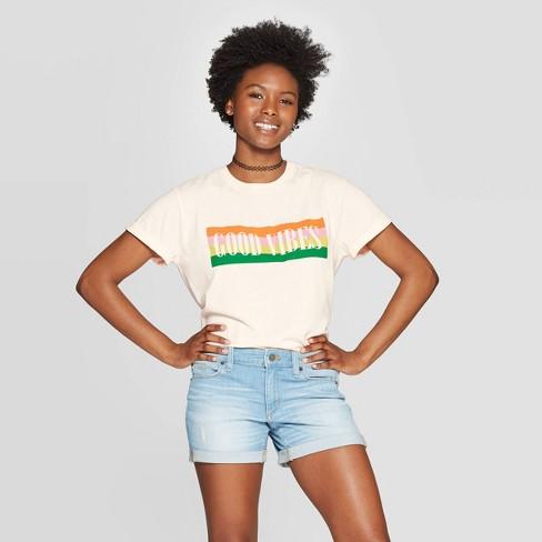 Women's Short Sleeve Good Vibes Graphic T-Shirt - Mighty Fine (Juniors') - Cream - image 1 of 9