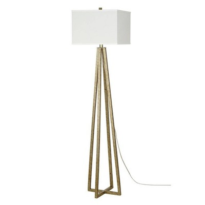 """58"""" Metal Cage Floor Lamp (Includes LED Light Bulb) Silver - Cresswell Lighting"""