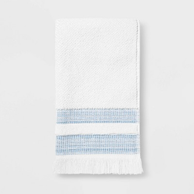Chambray Border Stripe Hand Towel White/Blue - Threshold™