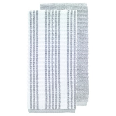 2pk Gray Solid & Stripe Waffle Terry Kitchen Towel (16 x28 )- T-Fal®