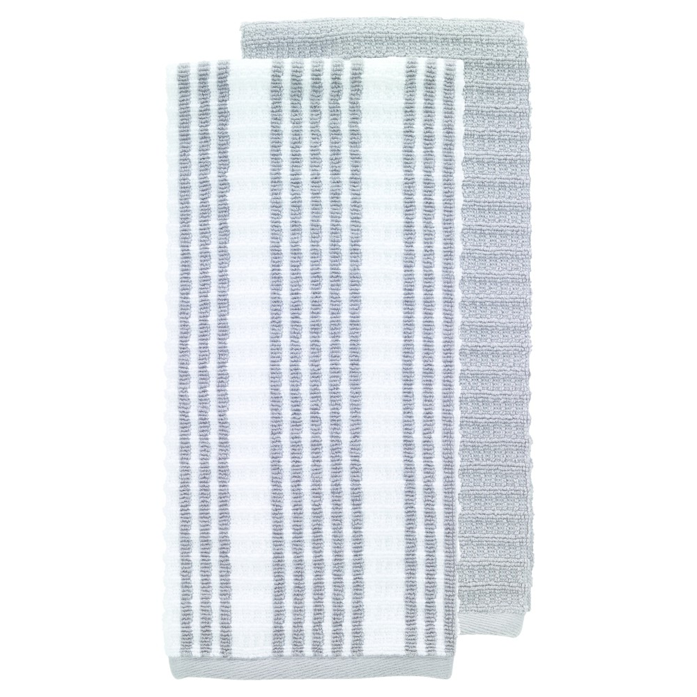 "Image of ""2pk Gray Solid & Stripe Waffle Terry Kitchen Towel (16""""x28"""") - T-Fal"""