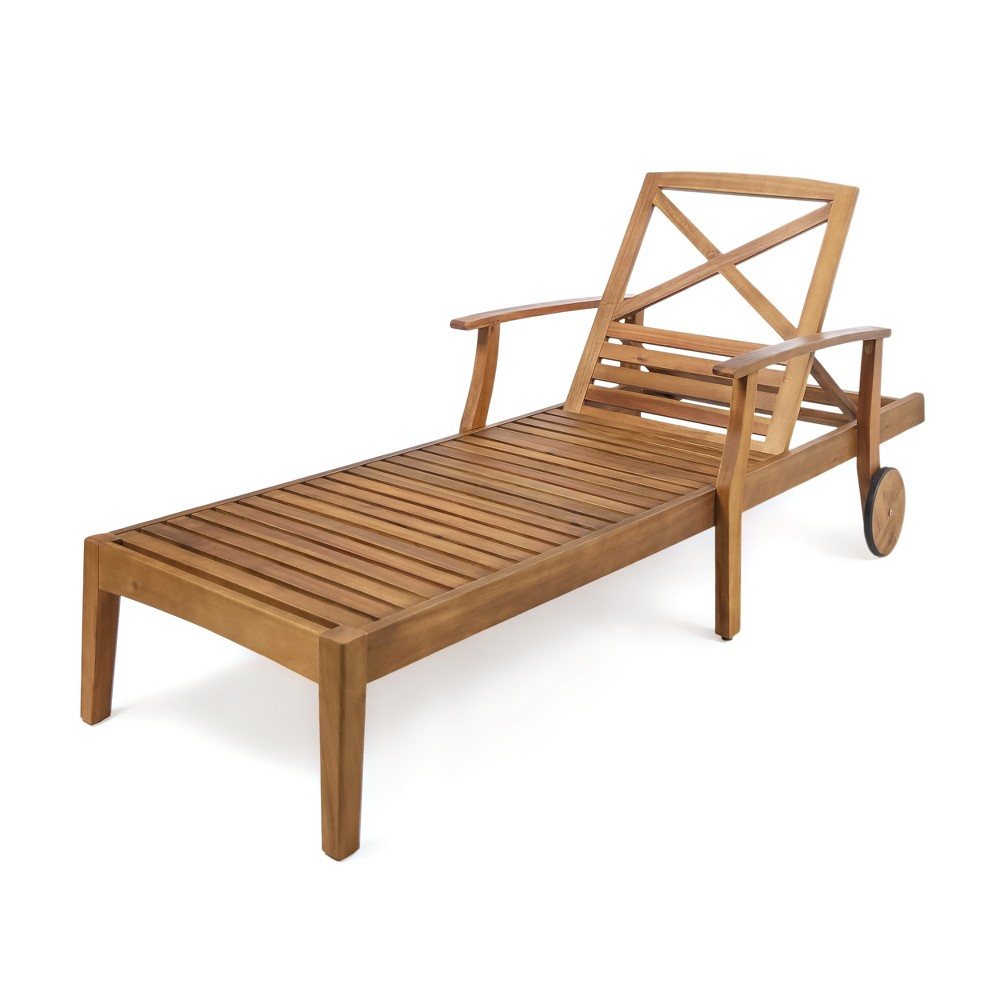 Perla Acacia Chaise Lounge - Teak (Brown) - Christopher Knight Home